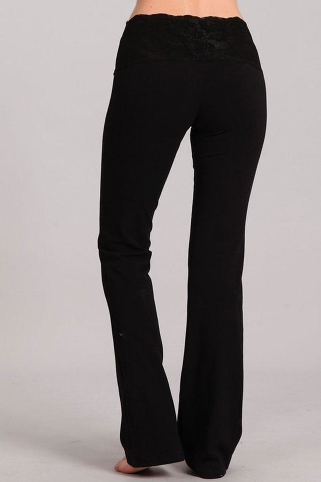 Chatoyant  Stretchy Lace Waistband Pants - Side Cropped Image