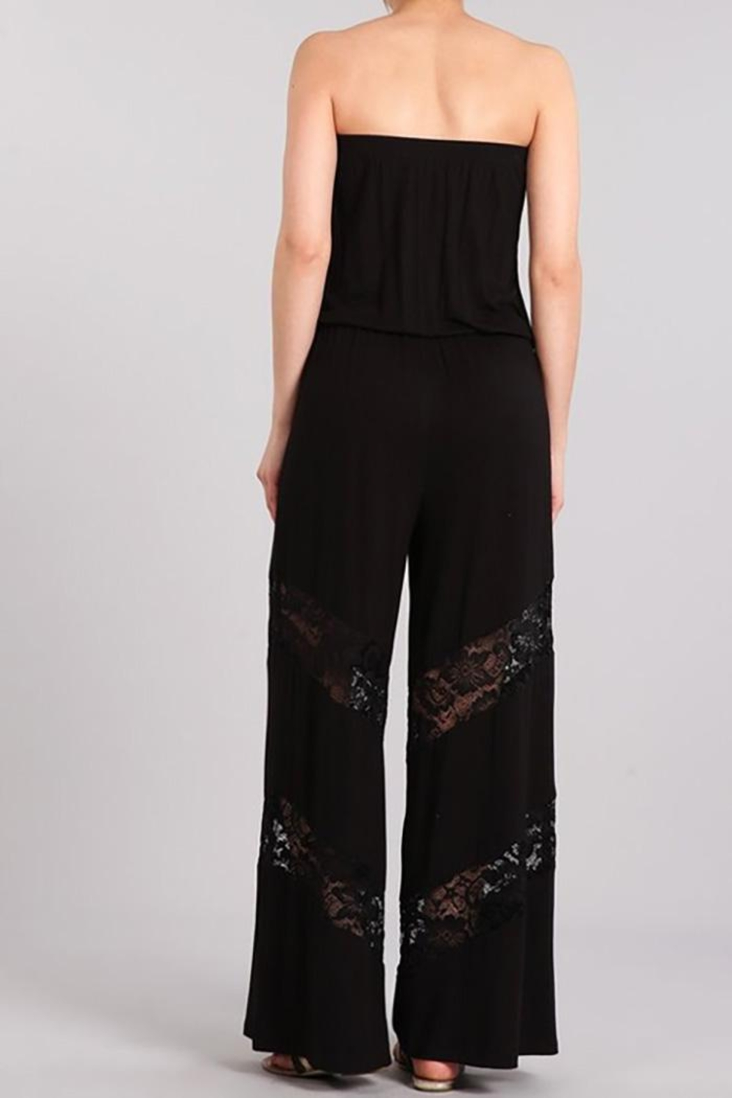 Chatoyant  Wide Leg Tube Jumpsuit Lace Insets - Front Full Image