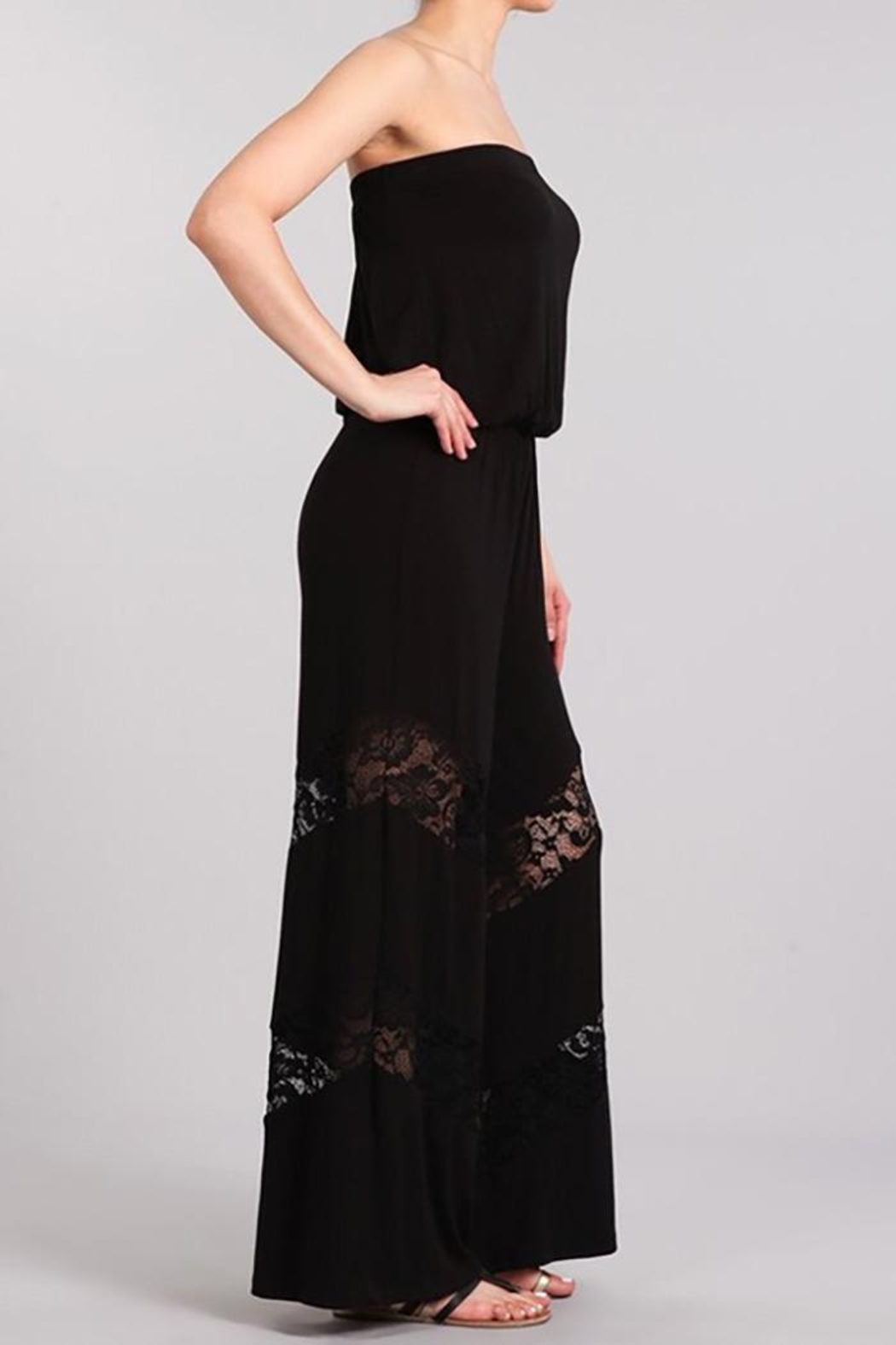 Chatoyant  Wide Leg Tube Jumpsuit Lace Insets - Side Cropped Image