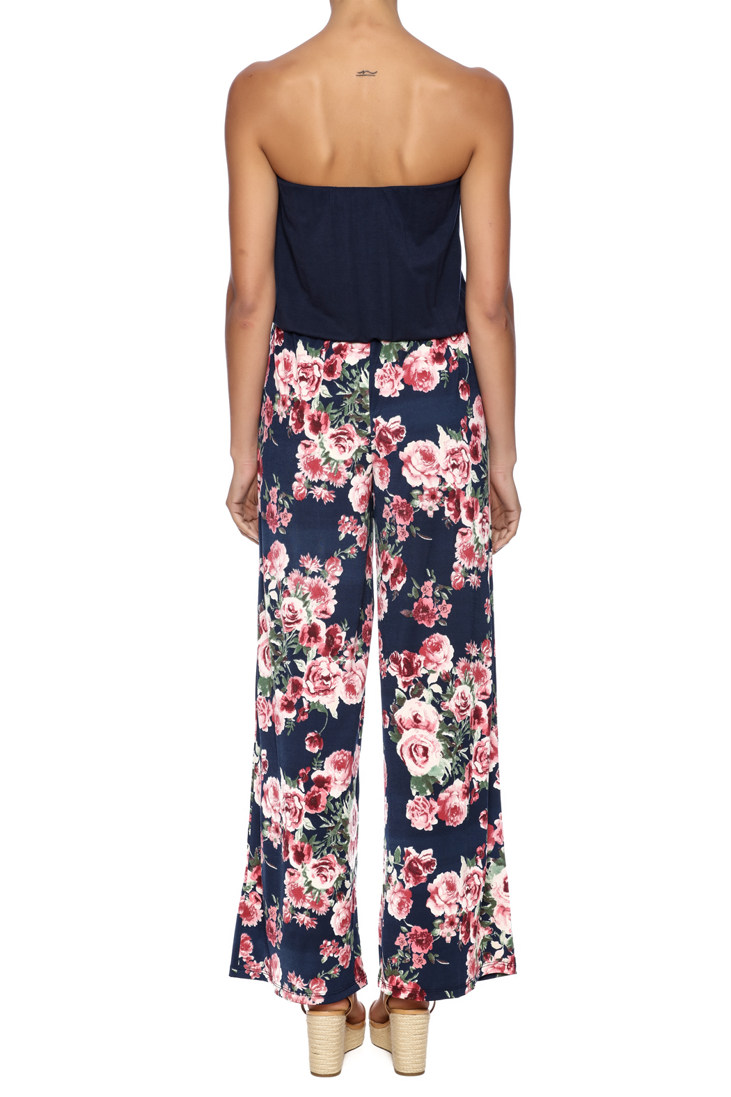 Chatoyant  Wide-Legged Floral Jumpsuit - Back Cropped Image