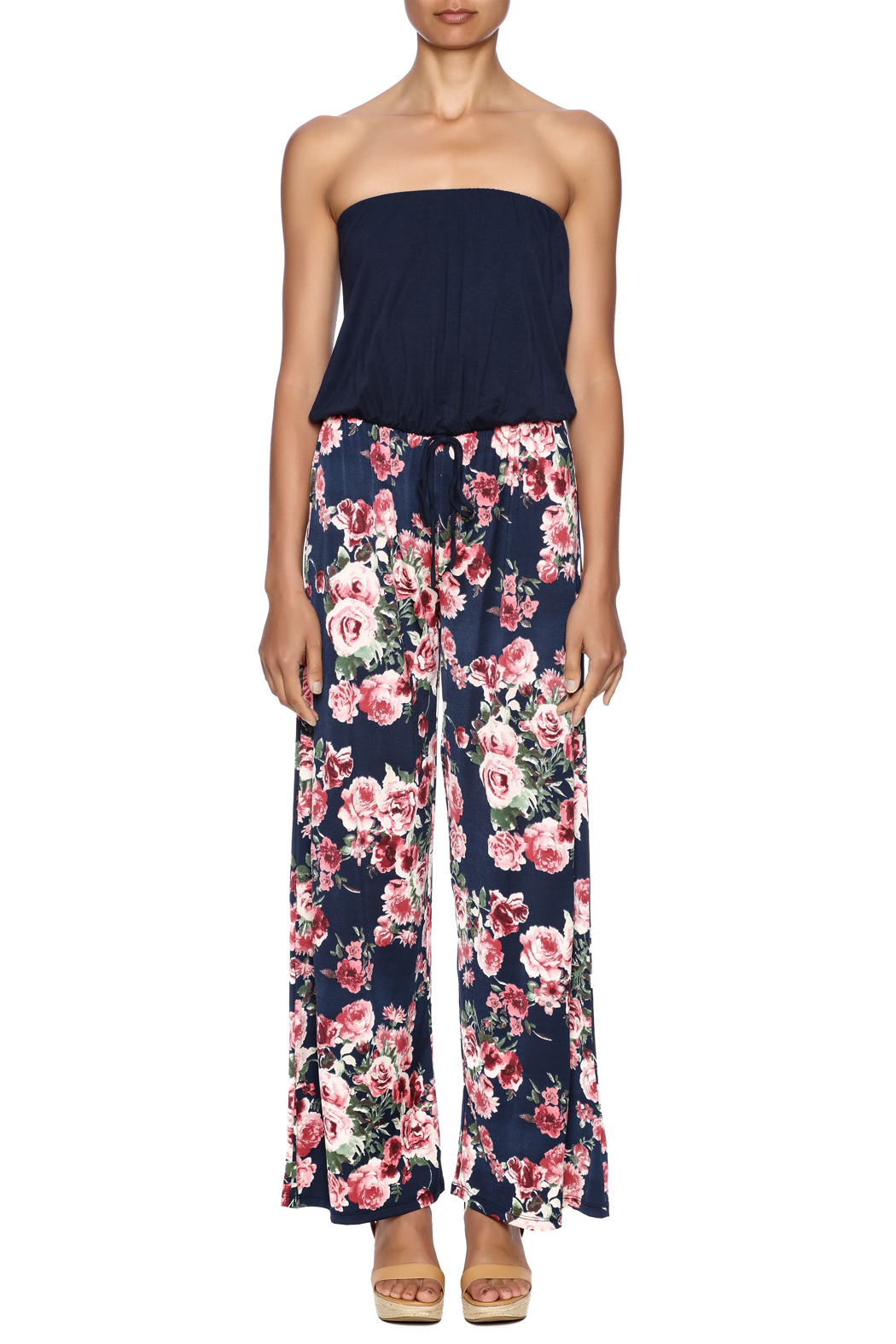 Chatoyant  Wide-Legged Floral Jumpsuit - Front Cropped Image