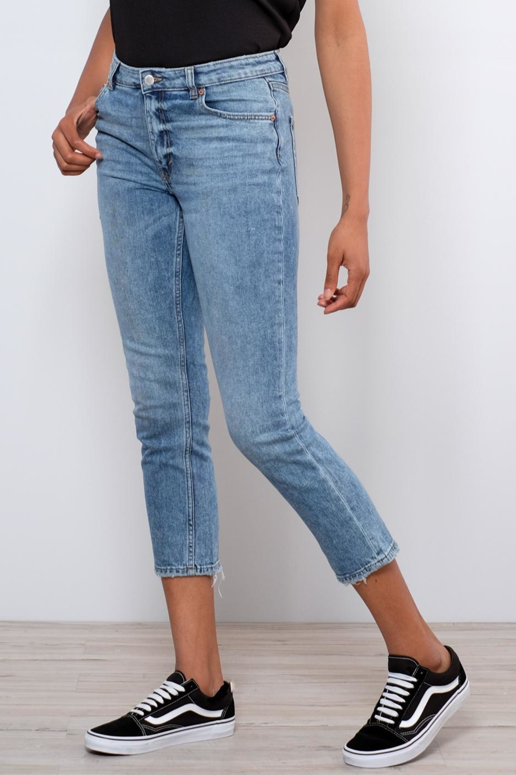 Cheap Monday Distressed Straight Jeans - Front Full Image