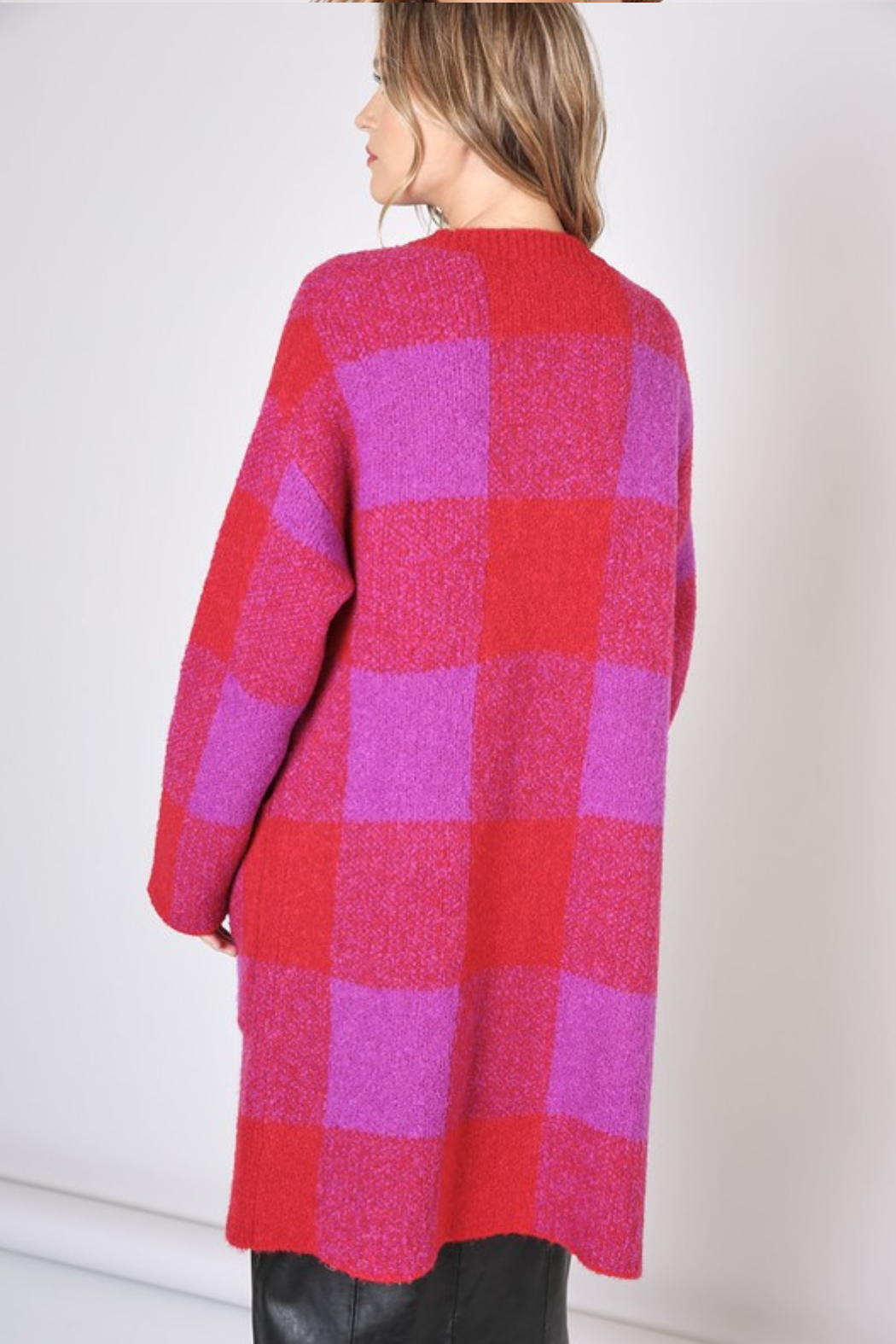 Olivaceous Check Cardigan - Back Cropped Image