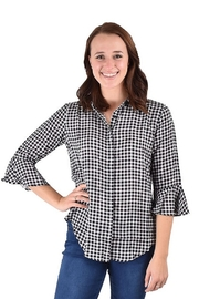 True Blue  Check Flounce Top - Product Mini Image