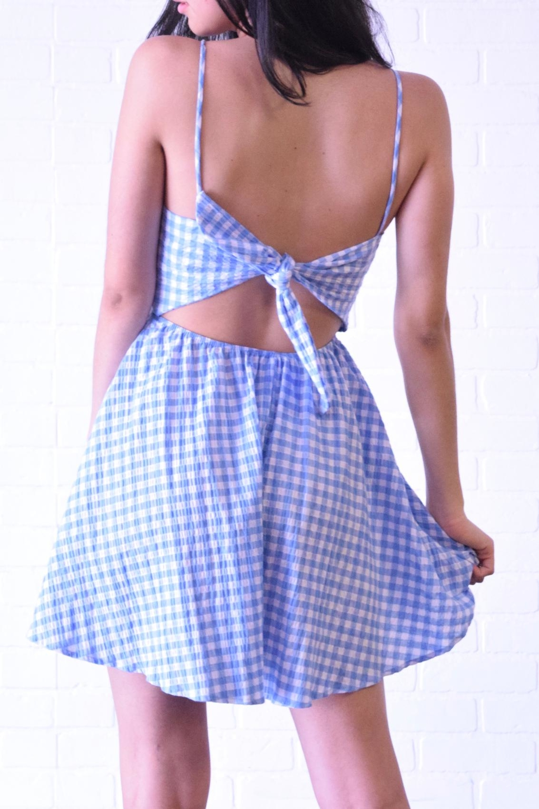 Lovely Day Check Keyhole Dress - Side Cropped Image