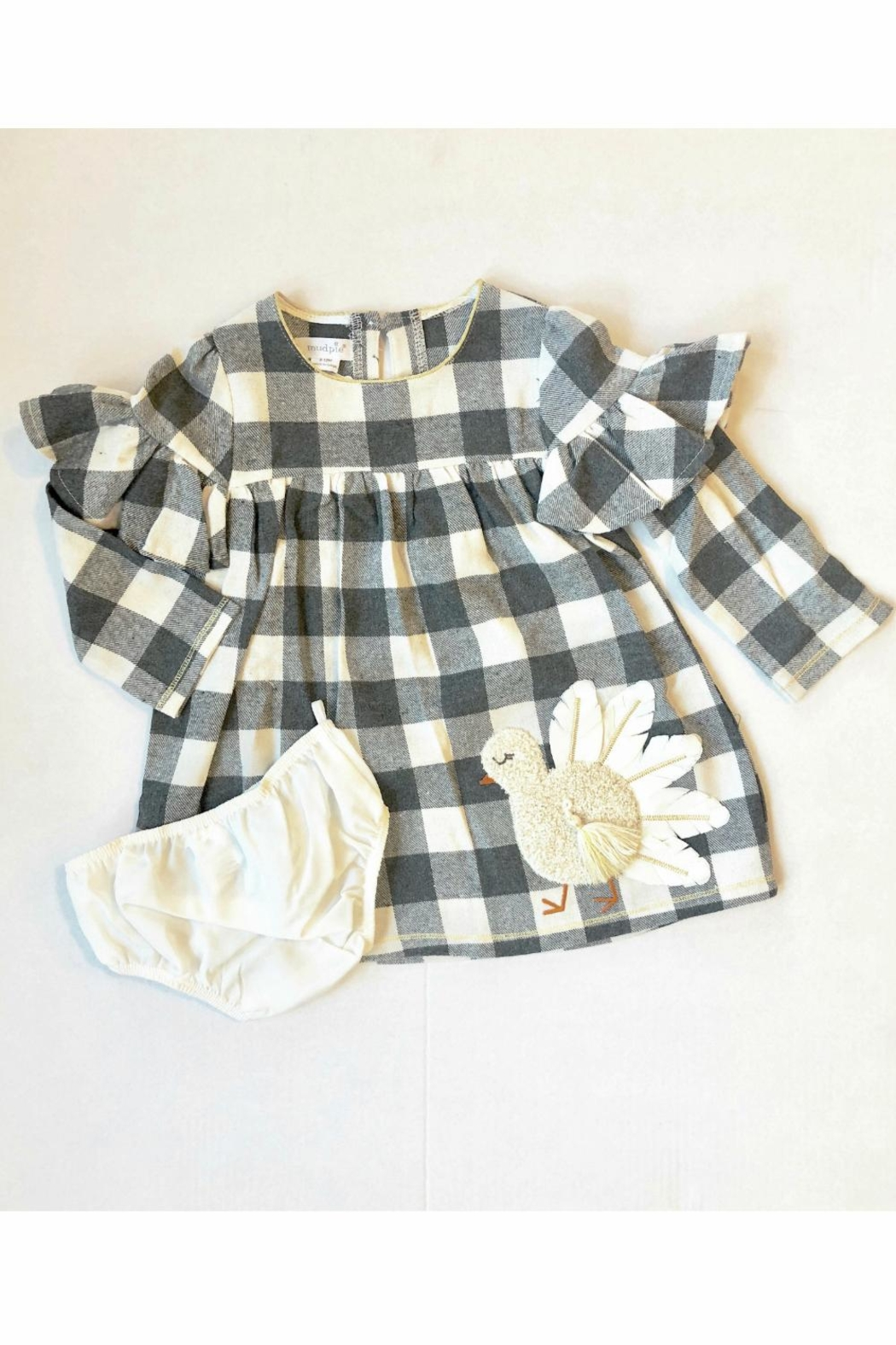 Mud Pie Check Turkey Dress - Front Cropped Image