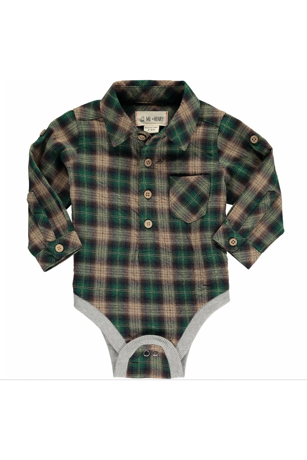 Me & Henry Check Woven Bodysuit - Front Cropped Image
