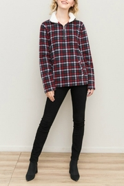 Hem & Thread Checked Fleece Half Zip Pullover - Product Mini Image