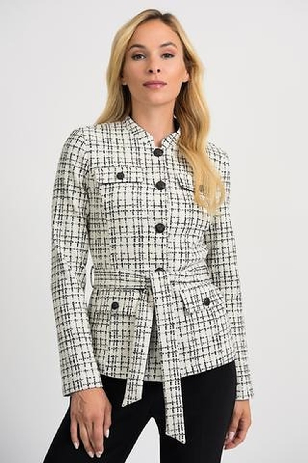 Joseph Ribkoff CHECKED JACKET - Front Cropped Image