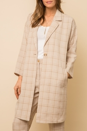 Mystree Checked  Long Coat - Front cropped