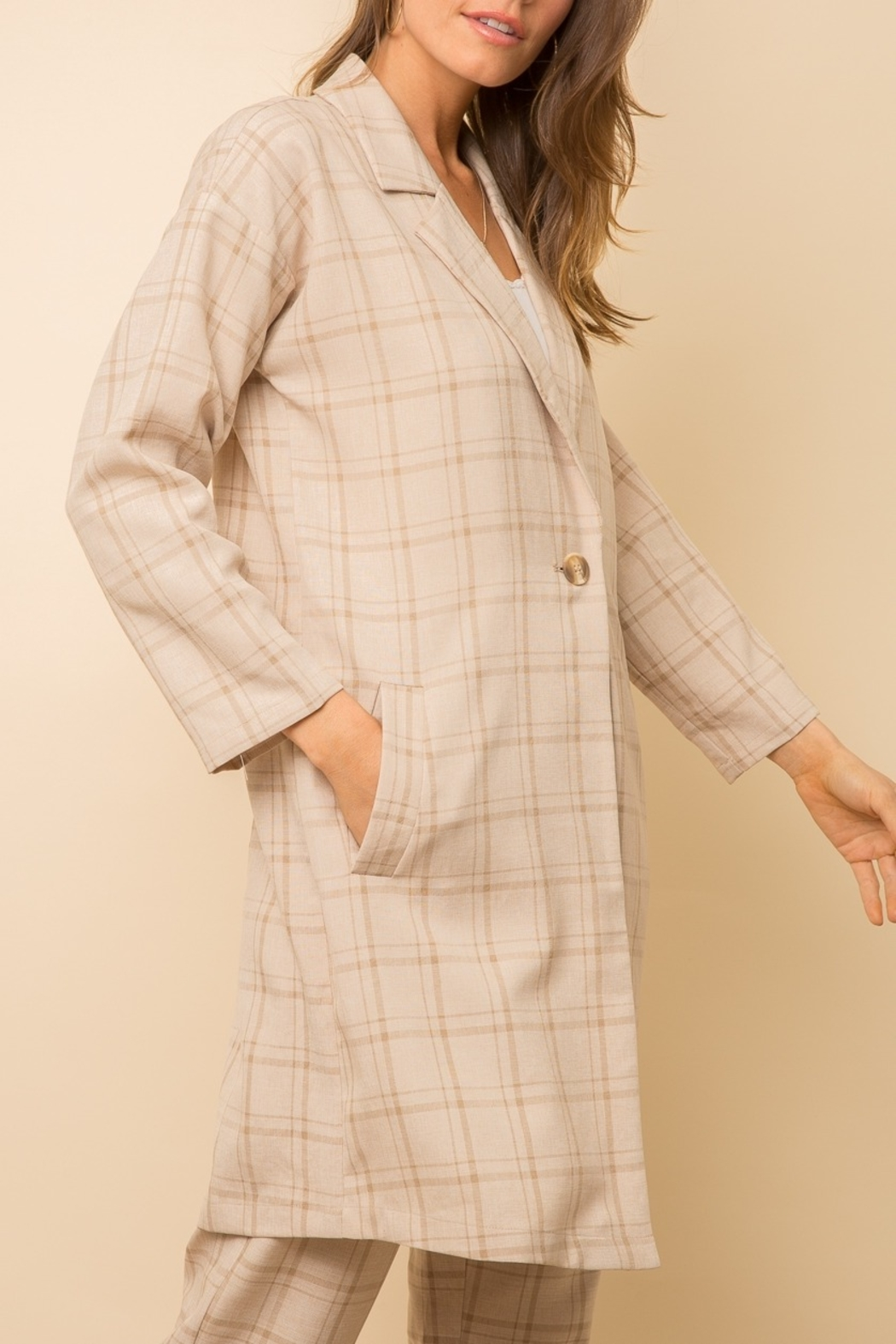 Mystree Checked  Long Coat - Front Full Image