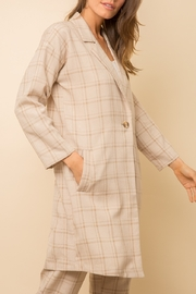 Mystree Checked  Long Coat - Front full body