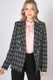 Olivaceous  Checked Tweed Blazer - Front cropped