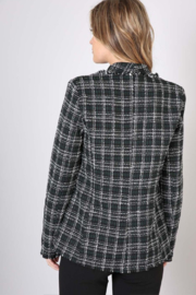 Olivaceous  Checked Tweed Blazer - Side cropped