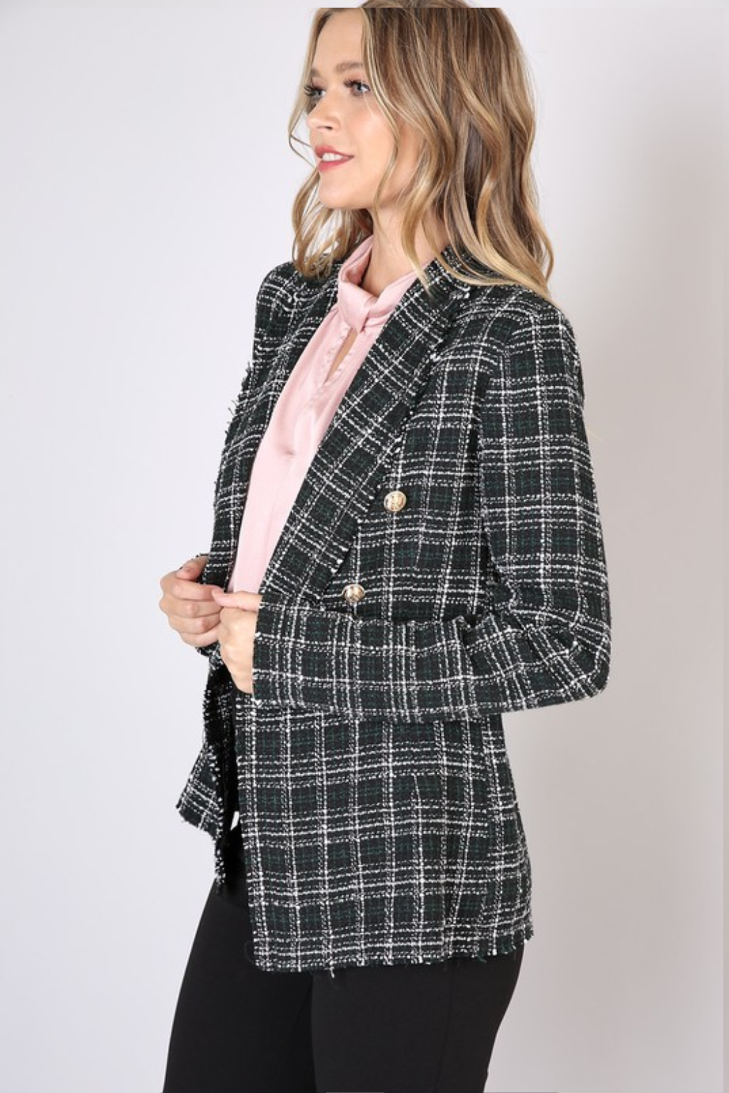 Olivaceous  Checked Tweed Blazer - Front Full Image