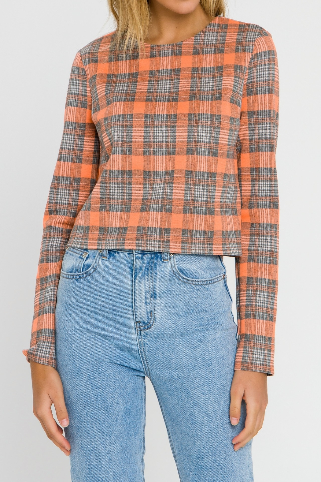 Grey Lab Checker Long Sleeve Top - Side Cropped Image