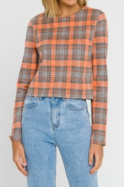 Grey Lab Checker Long Sleeve Top - Side cropped