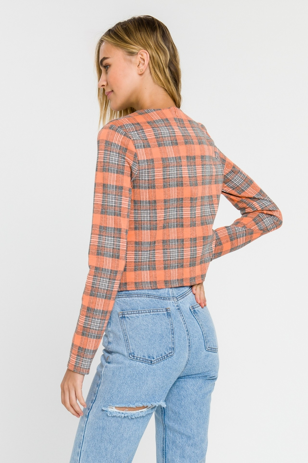 Grey Lab Checker Long Sleeve Top - Back Cropped Image