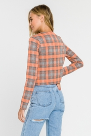 Grey Lab Checker Long Sleeve Top - Back cropped