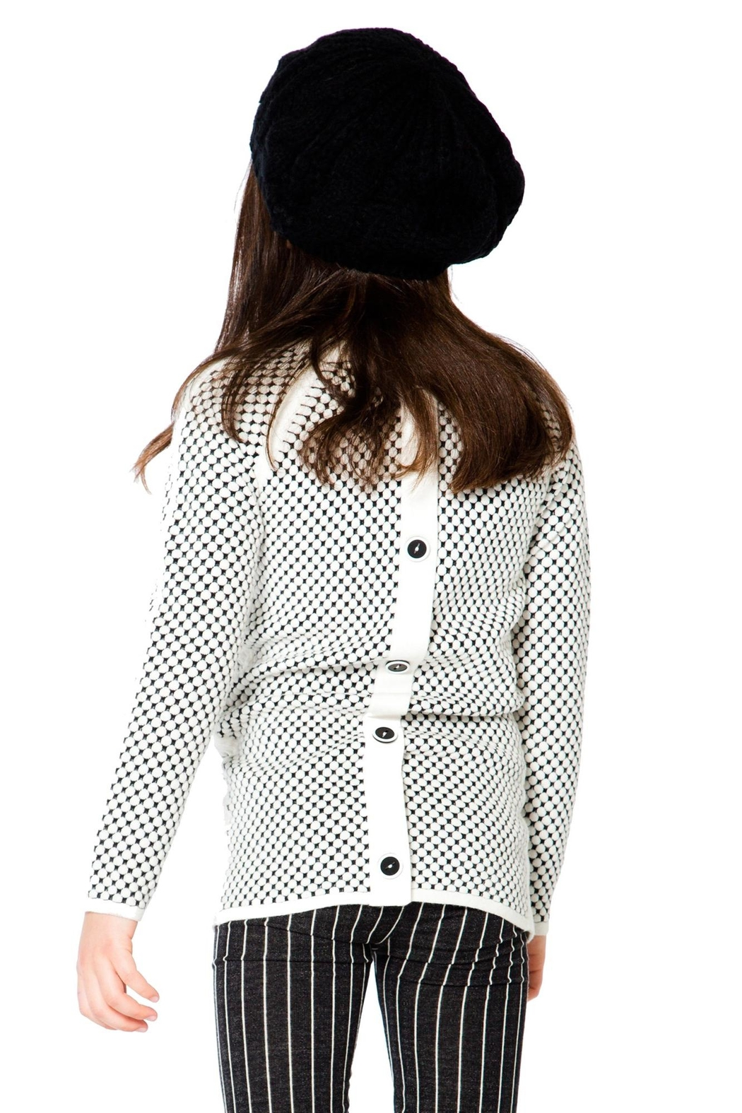 Deux Par Deux Checker Long Sweater - Front Full Image