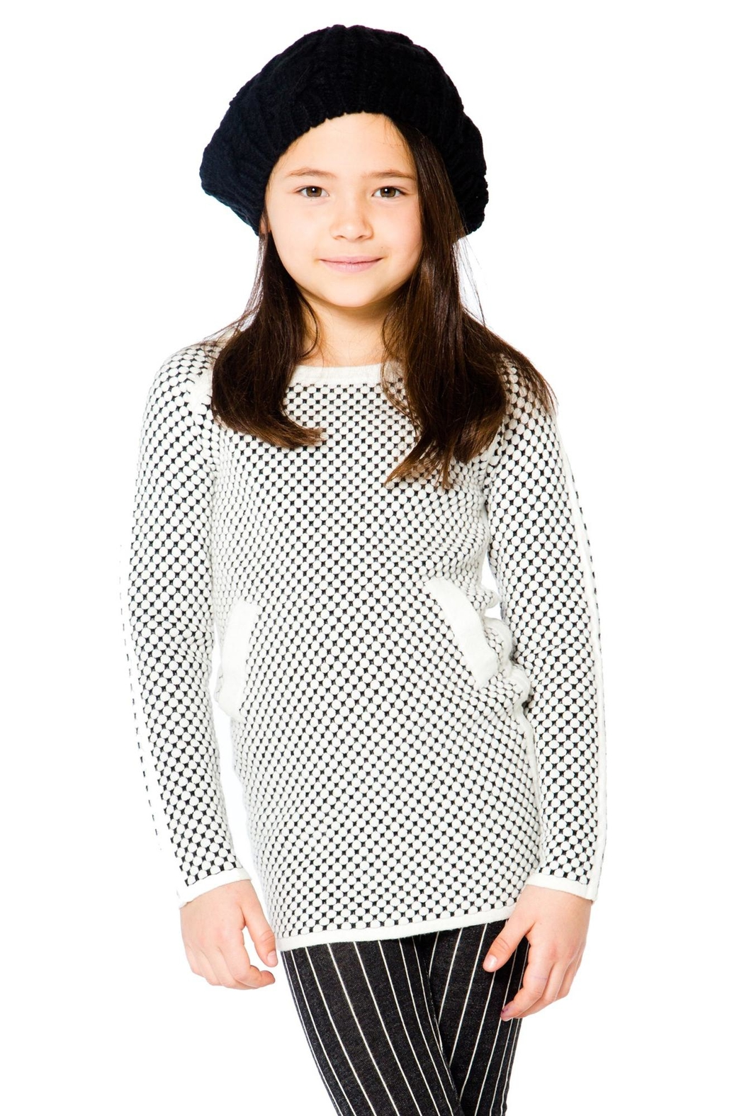 Deux Par Deux Checker Long Sweater - Front Cropped Image