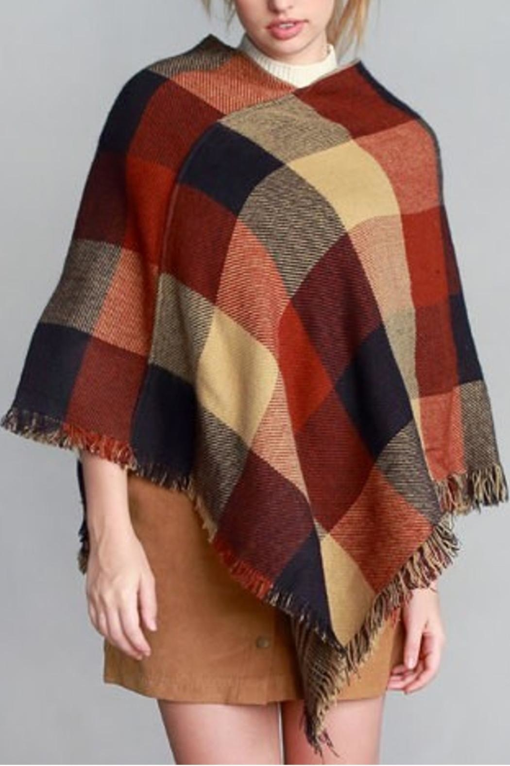 Justin & Taylor Checker Plaid Poncho - Front Cropped Image