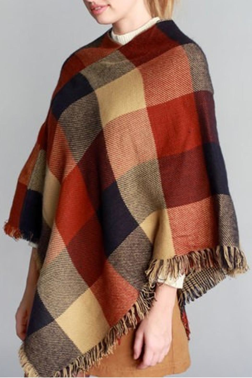 Justin & Taylor Checker Plaid Poncho - Side Cropped Image