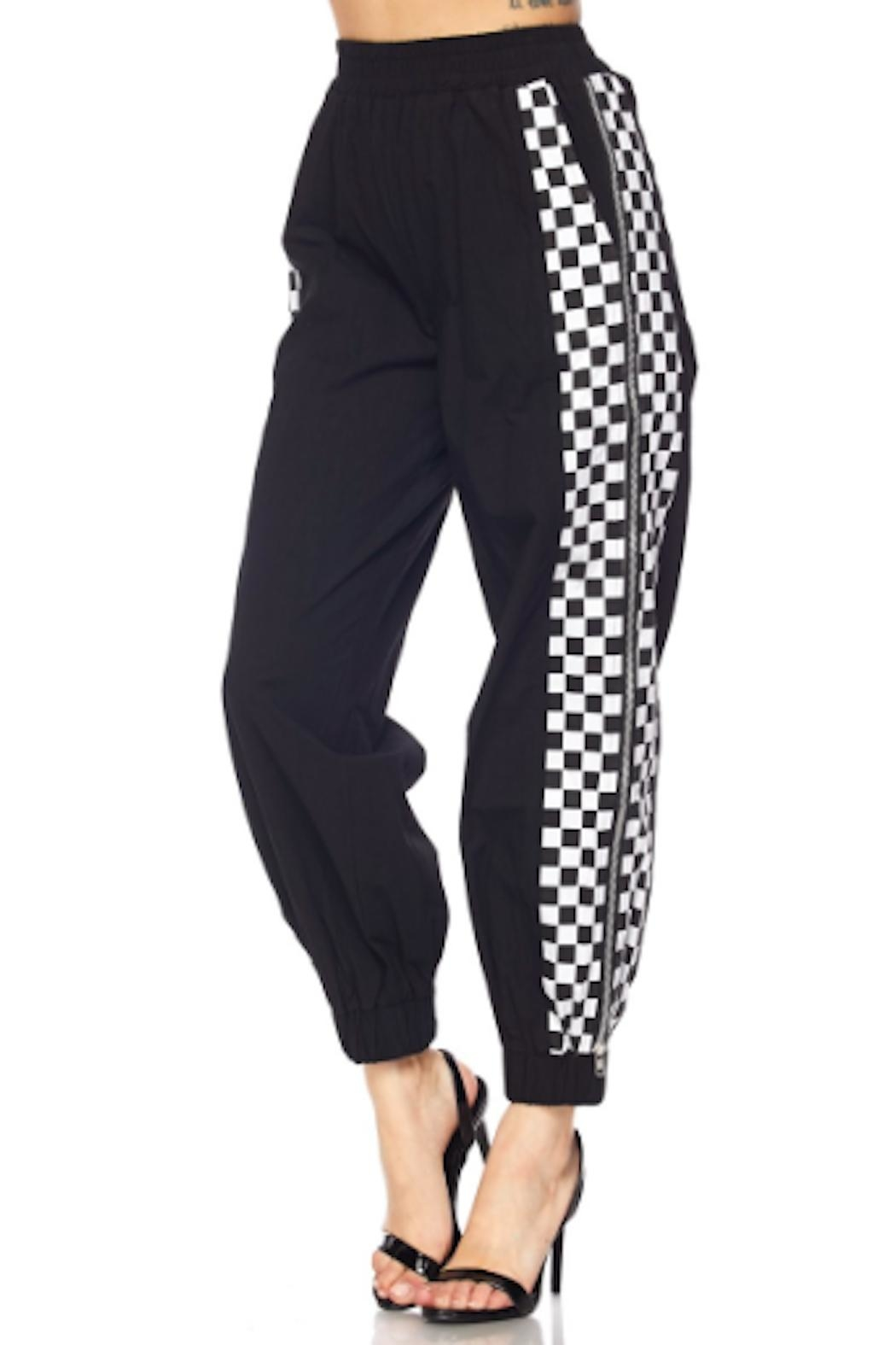 TIMELESS Checker Zipper Joggers - Front Cropped Image