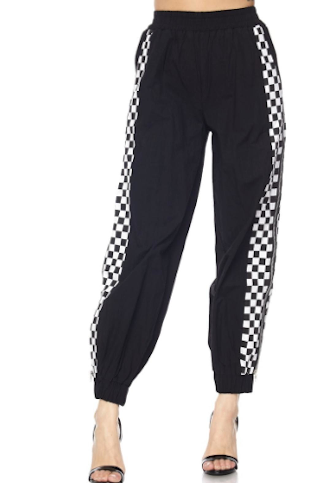 TIMELESS Checker Zipper Joggers - Side Cropped Image