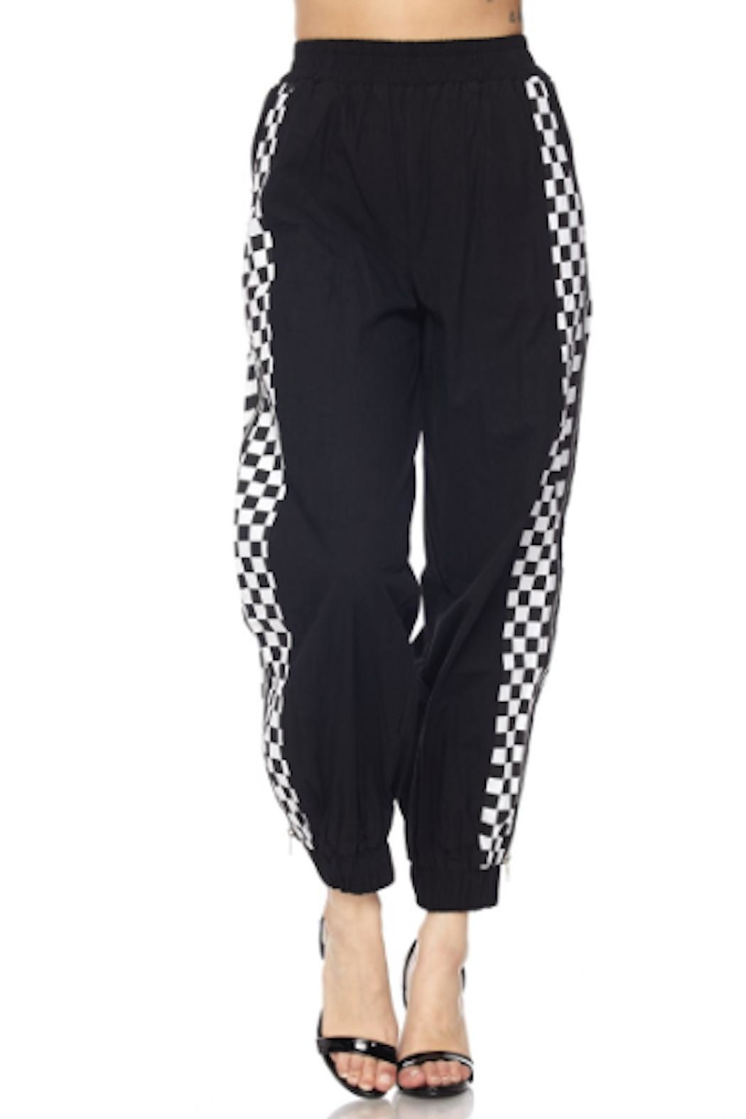 TIMELESS Checker Zipper Joggers - Front Full Image