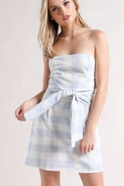 blue blush Checkered Dress - Front cropped