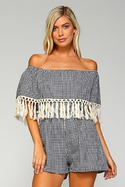 Racine Checkered Fringe Romper - Product Mini Image
