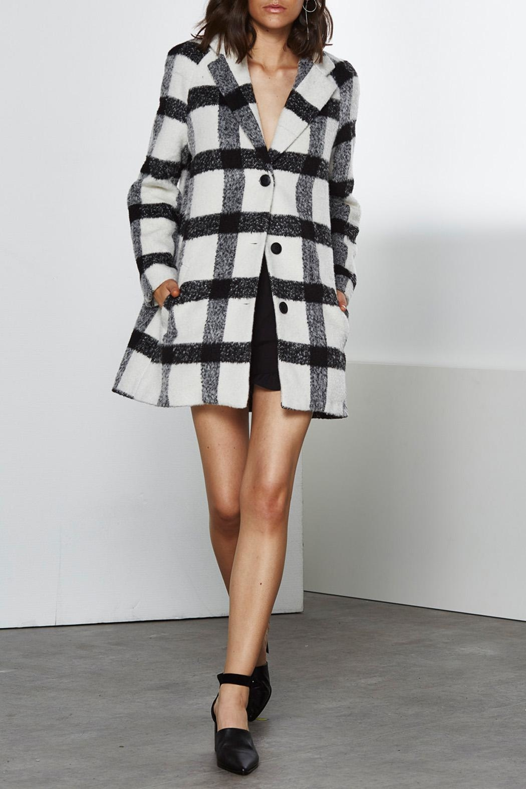 Shilla Checkered Long Coat - Front Cropped Image
