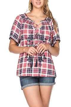 Joy Joy Checkered Peasant Top - Product List Image