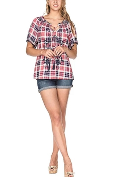Joy Joy Checkered Peasant Top - Alternate List Image