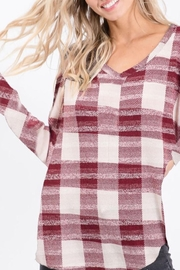 Bibi Checkered Plaid Sweater Knit V Neck - Product Mini Image