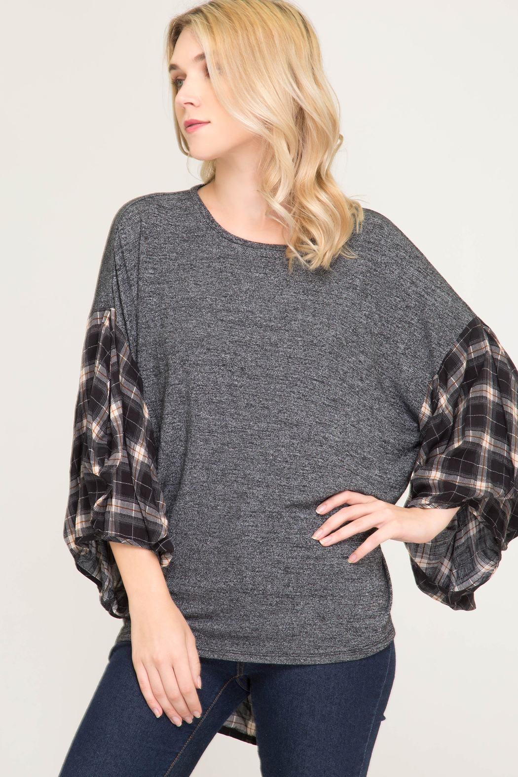 She & Sky  Checkered Poncho Shirt - Front Cropped Image