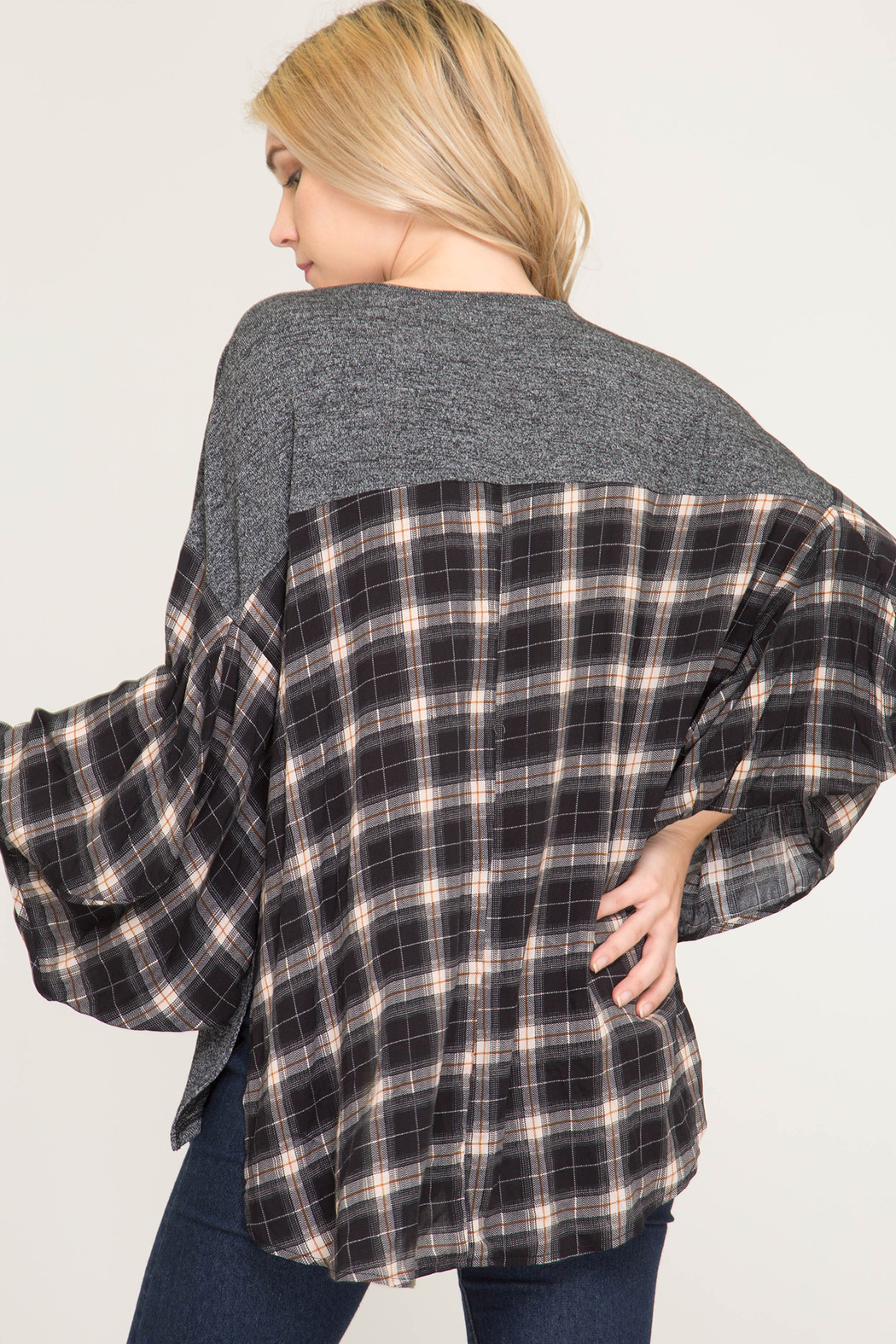 She & Sky  Checkered Poncho Shirt - Front Full Image