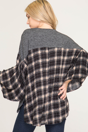 She & Sky  Checkered Poncho Shirt - Front full body