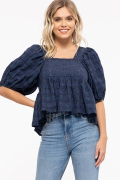 Moon River Checkered Puff Sleeve Top - Product List Image