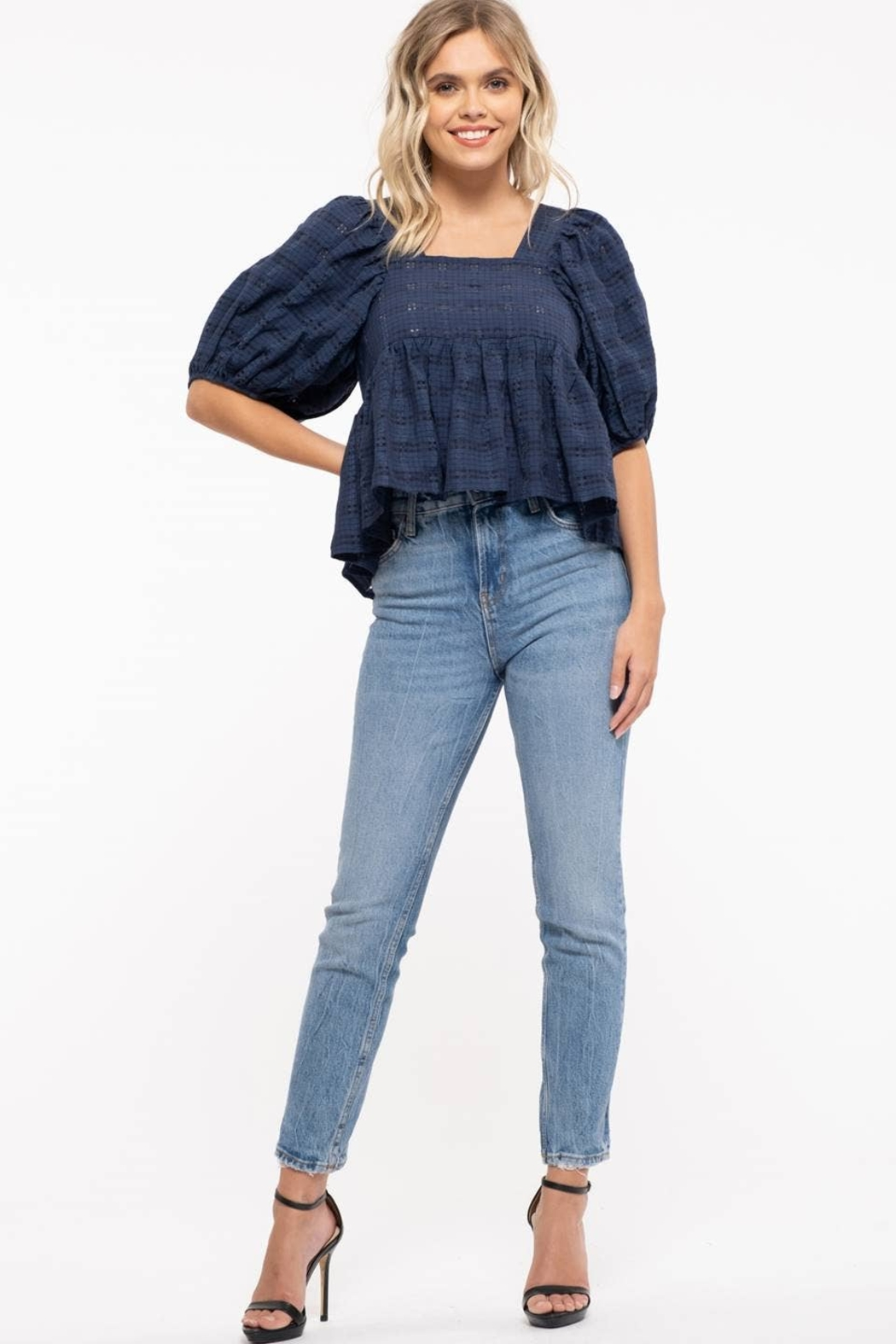 Moon River Checkered Puff Sleeve Top - Side Cropped Image