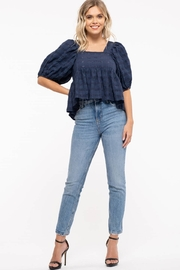 Moon River Checkered Puff Sleeve Top - Side cropped