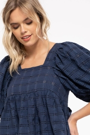 Moon River Checkered Puff Sleeve Top - Other