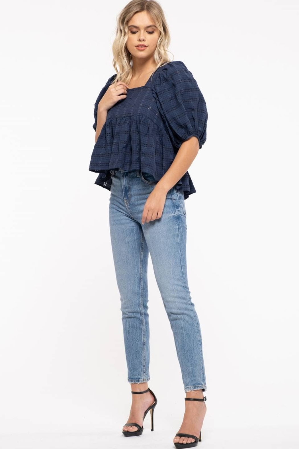 Moon River Checkered Puff Sleeve Top - Back Cropped Image