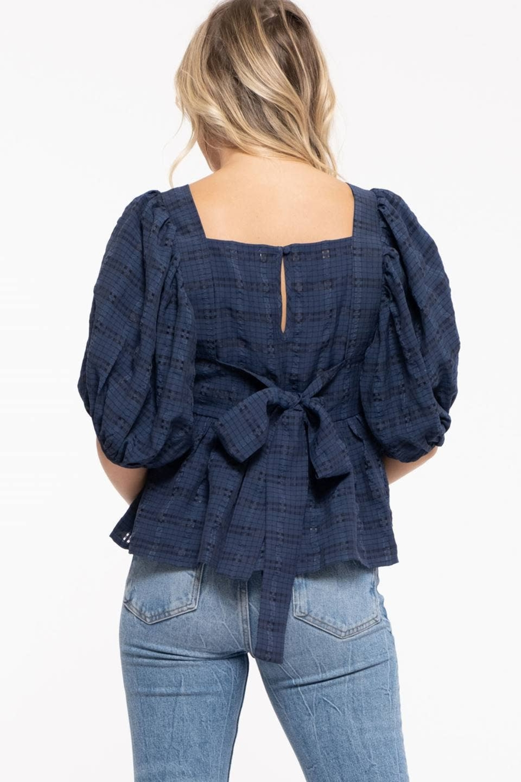 Moon River Checkered Puff Sleeve Top - Front Full Image