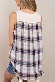 KORI AMERICA Checkered Sleeveless Top - Front full body