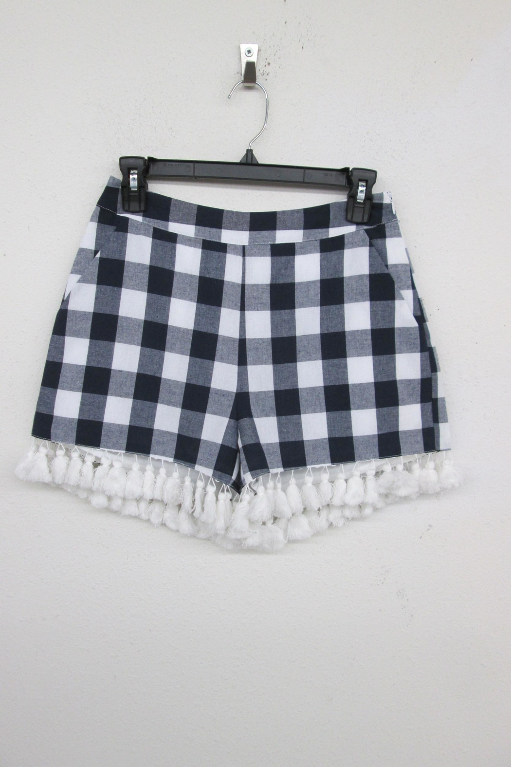 English Factory Checkered Tassel Shorts - Front Cropped Image