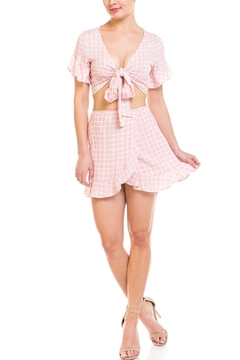 Shoptiques Product: Checkered Tie Skirt-Set