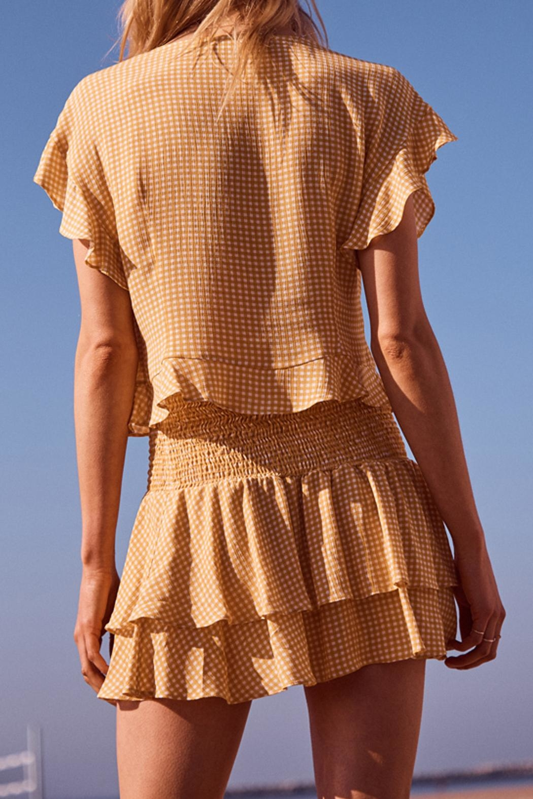 SAGE THE LABEL Checkered Tie Top - Back Cropped Image