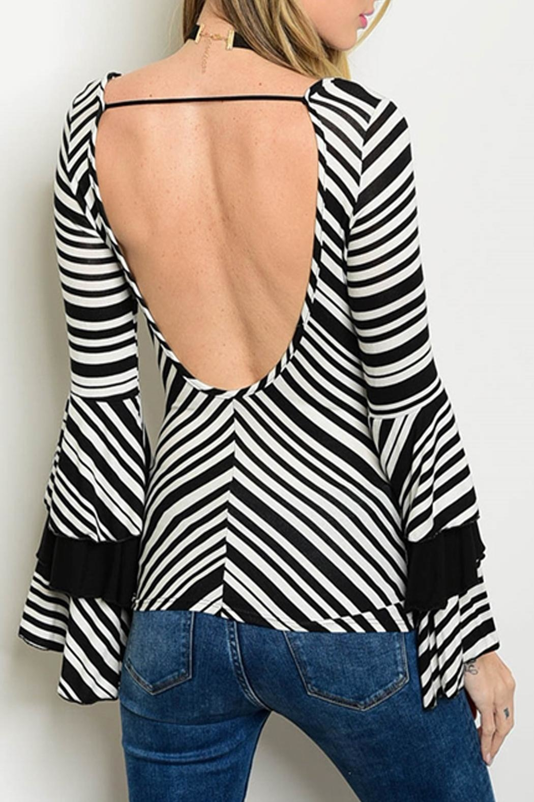 Cheeky Striped Bell-Sleeve Top - Front Full Image